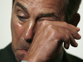 House Minority Leader Boehner wipes tears as colleague Johnson speaks about his prisoner-of-war status in Washington